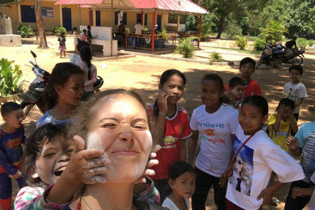 Volunteer teacher Rachel Morgan celebrating Khmer New Year